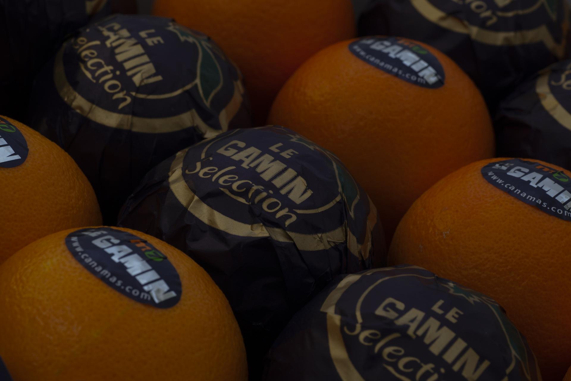 Primer plano naranjas confeccionadas